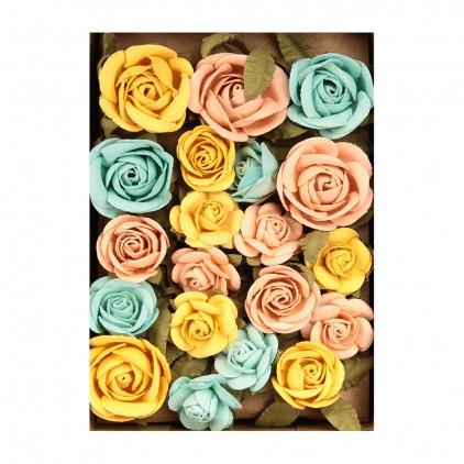 Papierowe kwiaty do rękodzieła - Little Birdie - Fiona Pastel Palette- 28 kwiatków