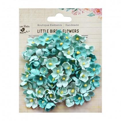 Papierowe kwiaty do rękodzieła - Little Birdie - Paula Arctic Ice- 60 kwiatków