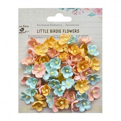 Papierowe kwiaty do rękodzieła - Little Birdie - Paula Pastel Plaette- 60 kwiatków