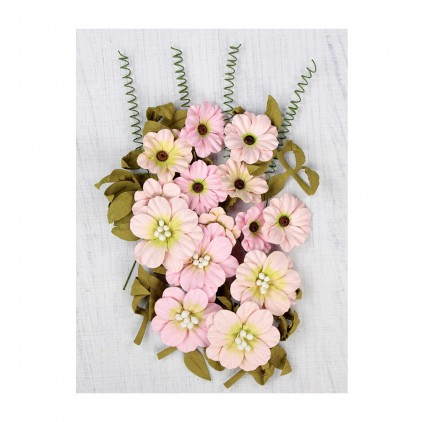 Big paper flower set, pink- Little Birdie - Fiorella Pearl Pink  - 25 elements