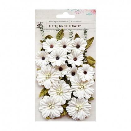 Papierowe kwiaty , kremowe - Little Birdie -Fiorella Moon Light - 25 elementów
