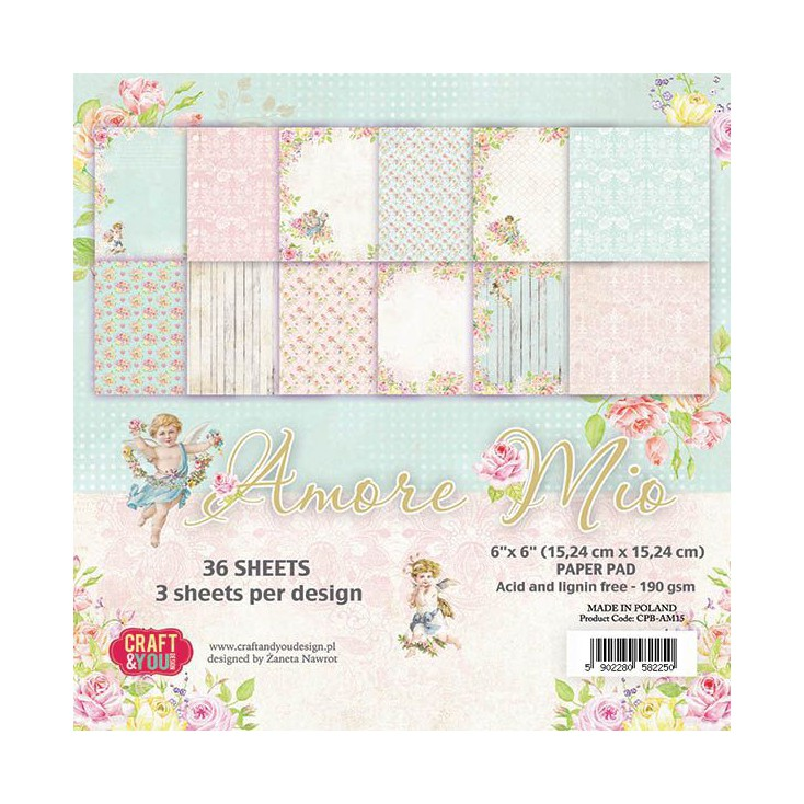 Craft and You Design - Pad of scrapbooking papers - Amore Mio