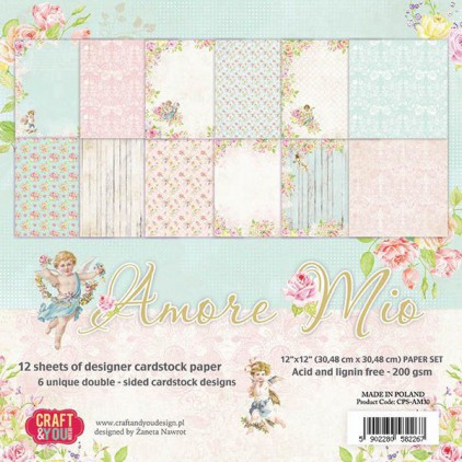 Set of scrapbooking papers - Craft and You Design - Amore Mio