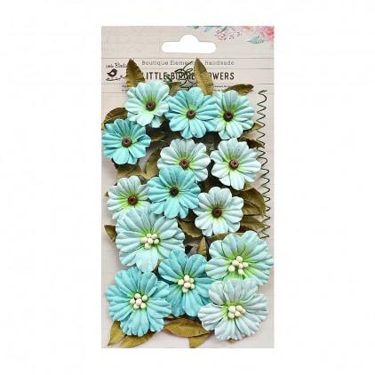 Papierowe kwiaty do rękodzieła - Little Birdie - Fiorella Arctic Ice - 25 elementów