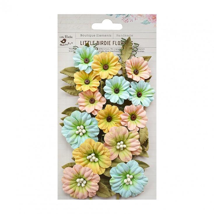 Papierowe kwiaty do rękodzieła - Little Birdie - Fiorella Pastel Palette - 25 elementów