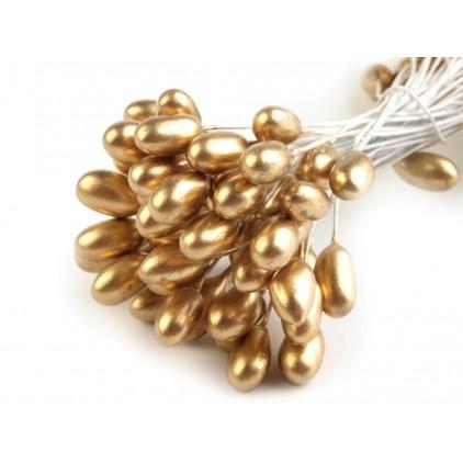 Pręciki do kwiatków perłowe - złote - duże- pęczek