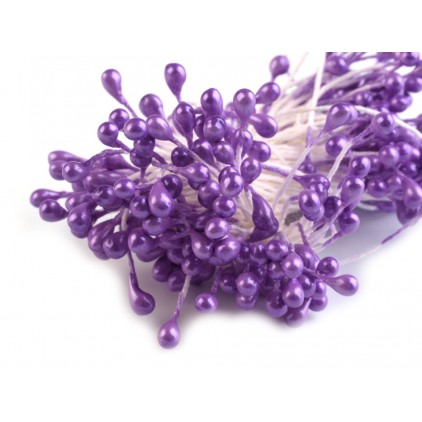 Pręciki do kwiatków - perłowe fioletowe - pęczek - 2mm