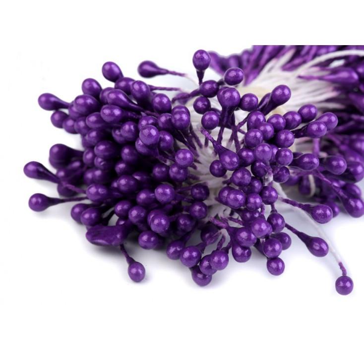 Flower stamen - pearl dark violet - one bunch - 2mm