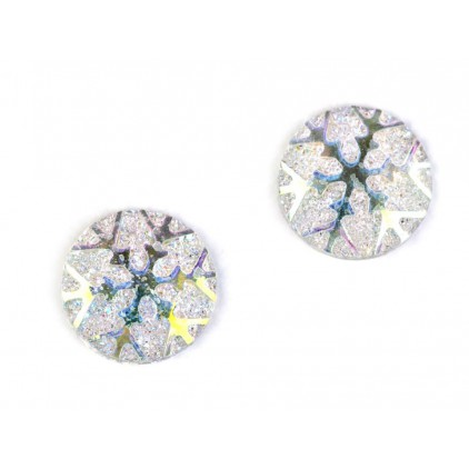 Ground pebbles, cabochon, snow flake 1,1 cm - white