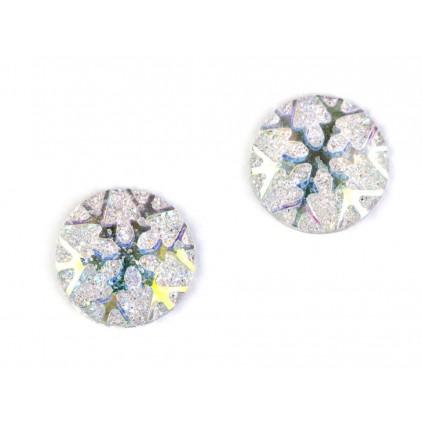 Szlifowane kamyczki, kaboszon płatek śniegu 1,1 cm - biały