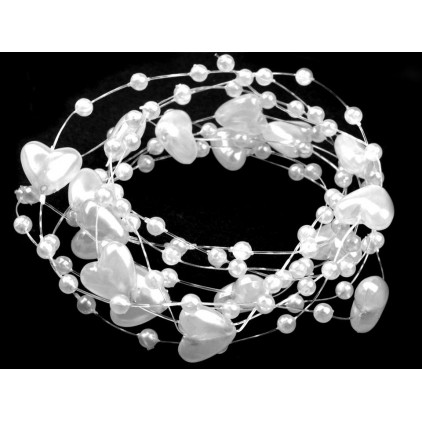 Beaded garland with hearts Ø10mm length 130cm - white