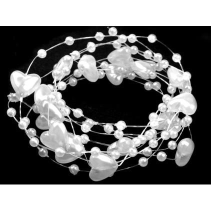 Perełki na żyłce silikonowej z serduszkami Ø10mm długość 130cm - białe