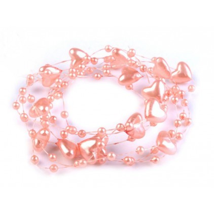 Beaded garland with hearts Ø10mm length 130cm - salmon