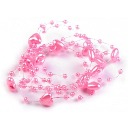 Perełki na żyłce silikonowej z serduszkami Ø10mm długość 130cm - różowe