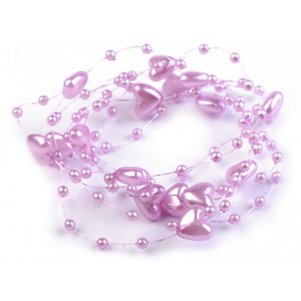 Perełki na żyłce silikonowej z serduszkami Ø10mm długość 130cm - jasno fioletowe
