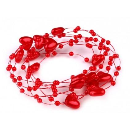 Perełki na żyłce silikonowej z serduszkami Ø10mm długość 130cm - czerwone