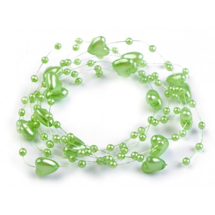 Beaded garland with hearts Ø10mm length 130cm - light green