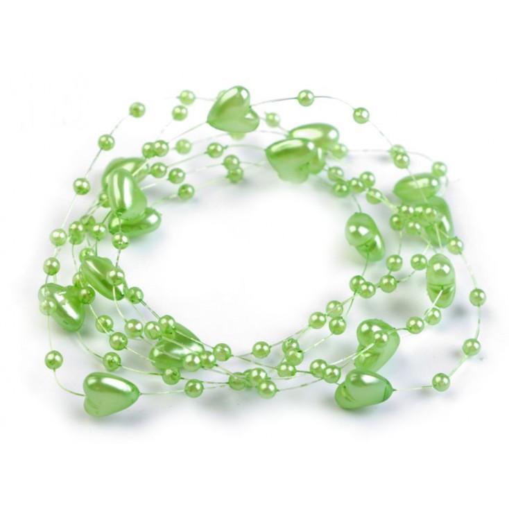 Perełki na żyłce silikonowej z serduszkami Ø10mm długość 130cm - jasny zielony