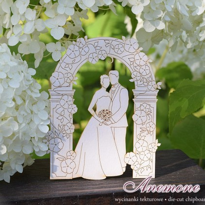 Cardboard cutout - Chipboard - Anemone - Bride and Groom in the garden