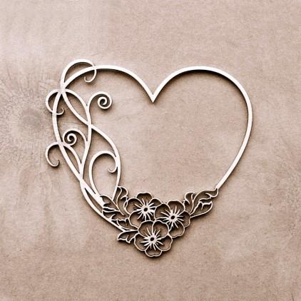 Wycinanka tekturowa - Tekturka - Anemone - Serce z kwiatami