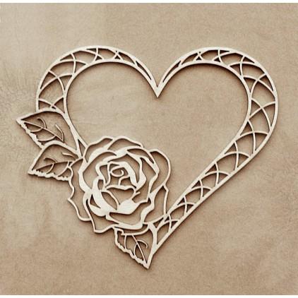Wycinanka tekturowa - Tekturka - Anemone -  Serce z różą