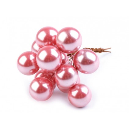 Mini Christmas baubles on wire - Shabby chic - Diameter 16mm - Pink