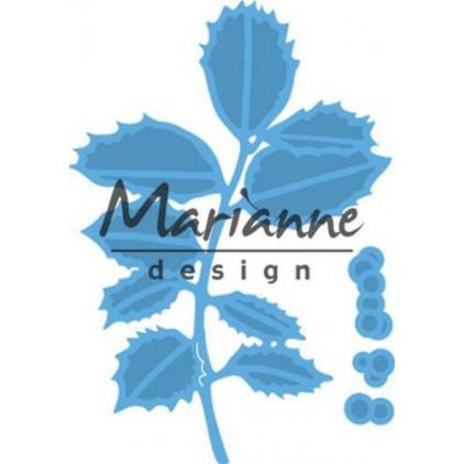 Gałązka ostrokrzewu - Wykrojnik - Marianne Design LR0549
