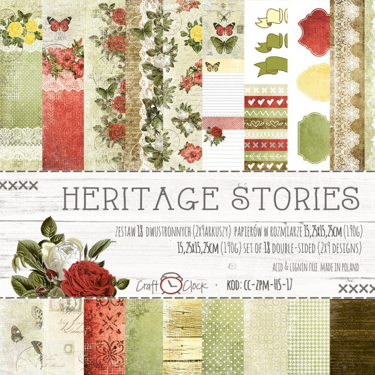 Pad of scrapbooking papers - Craft O Clock - Heritage Stories