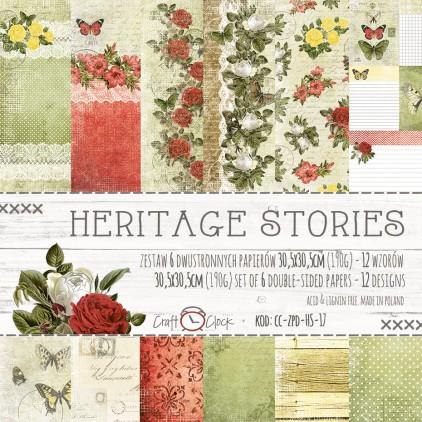 Zestaw papierów do tworzenia kartek i scrapbookingu -Craft O Clock- Heritage Stories