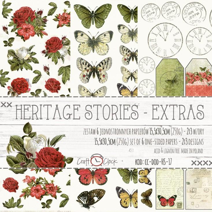 Zestaw papierów do tworzenia kartek i scrapbookingu - Craft O Clock - Hertage Stories - Extras
