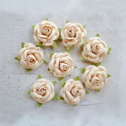 Paper flower set - Little Birdie -  Angel Rose Lvory - 8  flowers