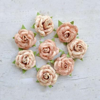 Paper flower set - Little Birdie -  Angel Rose Amber - 8  flowers