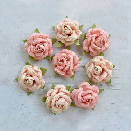 Paper flower set - Little Birdie -  Angel Rose Cornation - 8  flowers