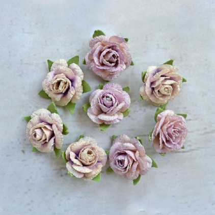 Paper flower set - Little Birdie -  Angel Rose Orchid - 8  flowers