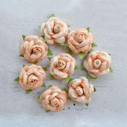 Papierowe kwiaty do rękodzieła - Little Birdie - Angel Rose Coral - 8 kwiatków