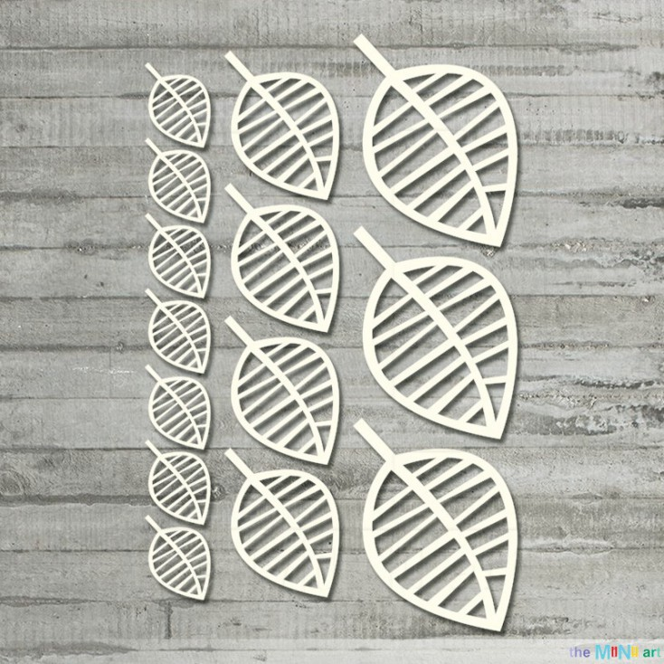 the MiNi art - Cardboard element - A set of open-work leaves