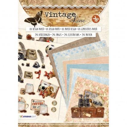 Vintage Line - Blok papierów do tworzenia kartek i scrapbookingu - Studio Light