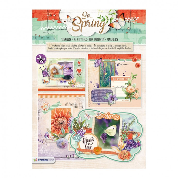 Blok papierów do tworzenia kartek i scrapbookingu - Studio Light - So Spring - Die Cut Block