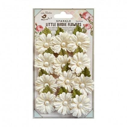 Papierowe kwiaty brokatowe, kremowe z perałką - Little Birdie - Valerie Ivory- 12 kwiatków z listkami