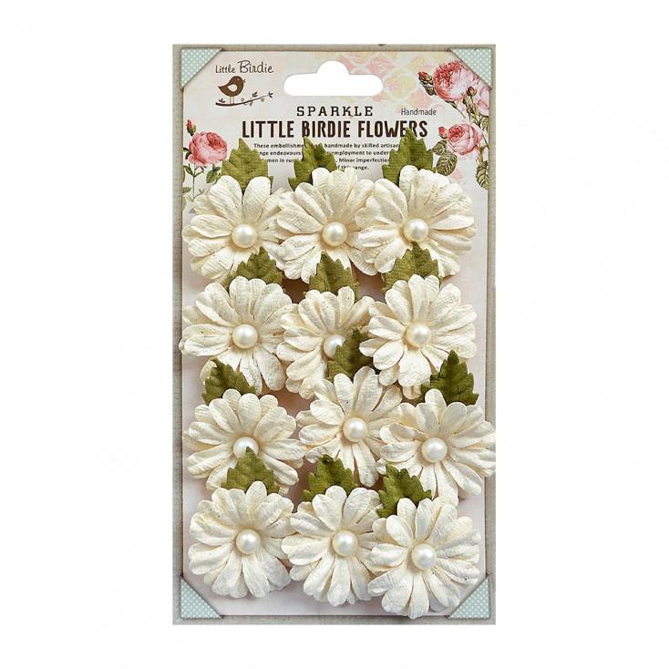 Papierowe kwiaty do rękodzieła - Little Birdie - Valerie Ivory- 12 kwiatków z listkami