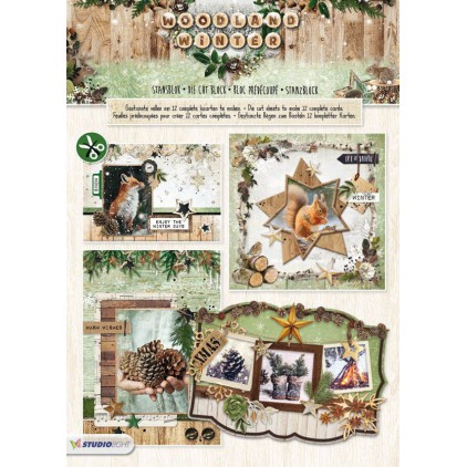 Scrapbooking paper pad - Studio Light - Woodland Winter 02 - Die Cut Block