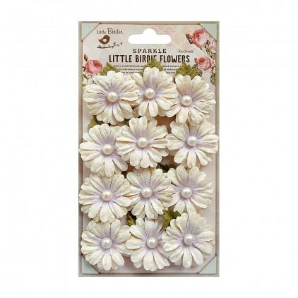 Papierowe kwiaty do rękodzieła - Little Birdie - Valerie Orchid- 12 kwiatków z listkami
