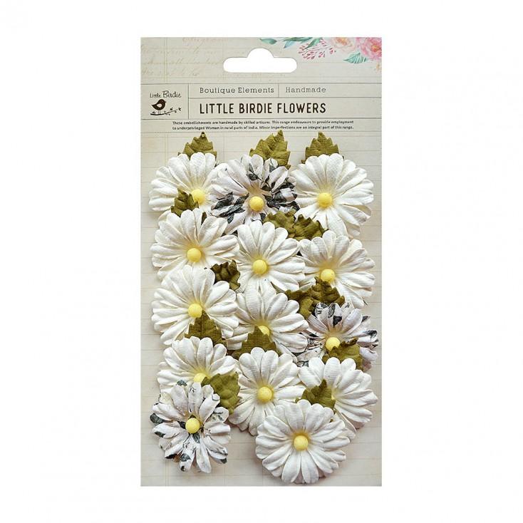 Papierowe kwiaty do rękodzieła - Little Birdie - Valerie Moon light- 14 kwiatków z listkami