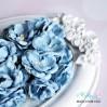 Zestaw papierowych peonii - niebieskie - 25 sztuki
