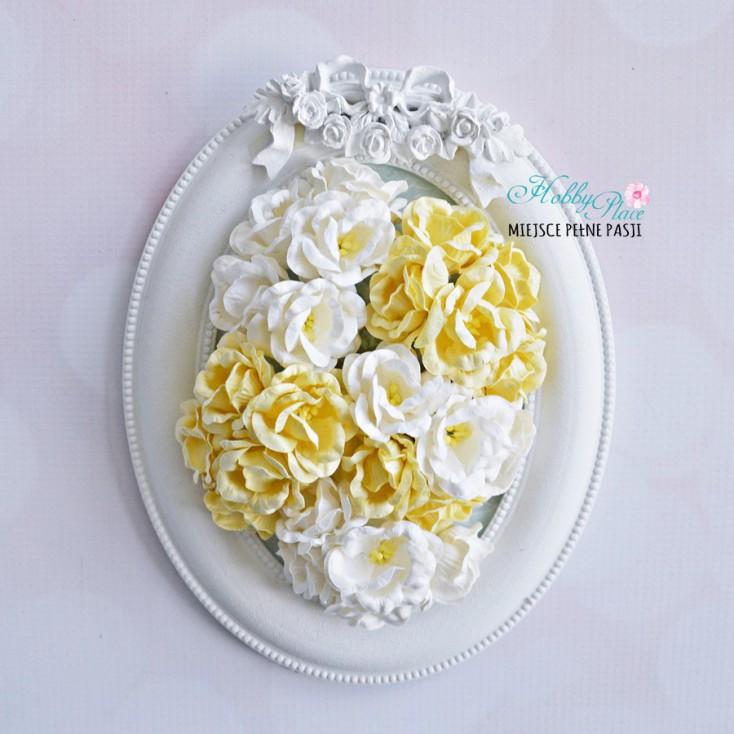 Zestaw papierowych peonii - miks waniliowo-biały - 25 sztuk