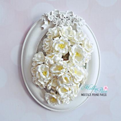 Zestaw papierowych peonii - białe - 25 sztuk