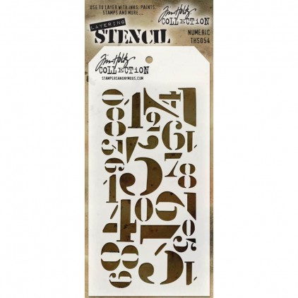 Tim Holtz Collection - Mask, stencil, template - Numeric THS054