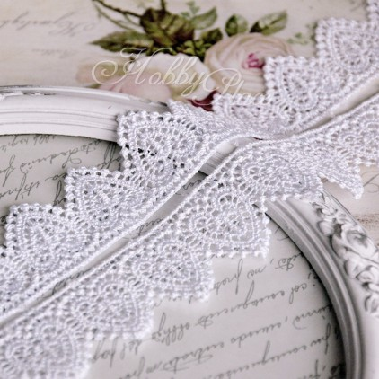 Guipure lace hearts - widh 3,5cm - white - 1 meter