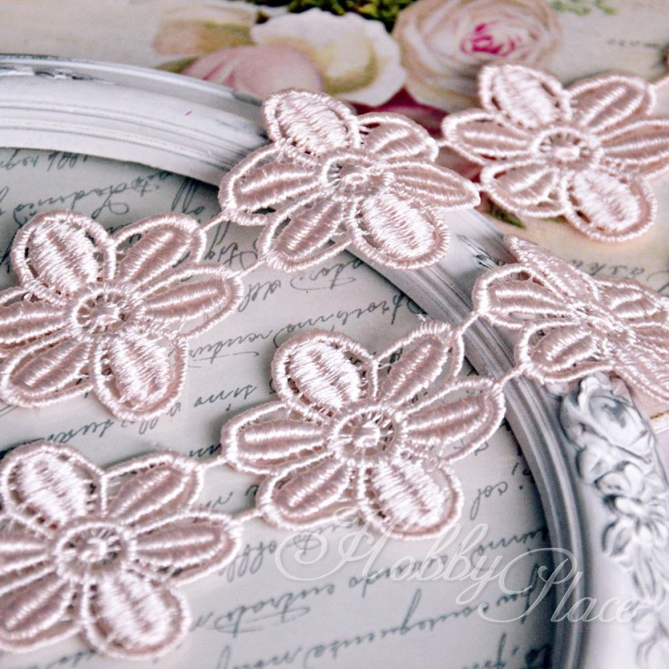 Guipure lace flowers - widh 4,5cm - pink - 1 meter
