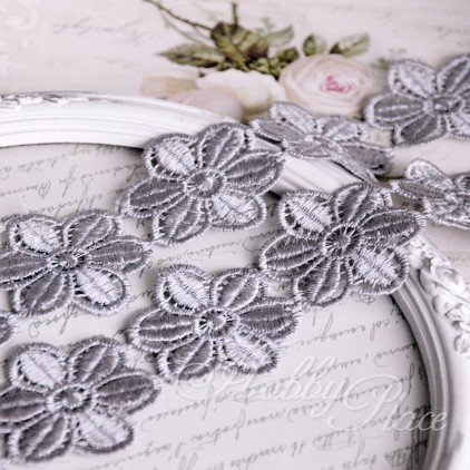 Guipure lace flowers - widh 4,5cm - grey - 1 meter